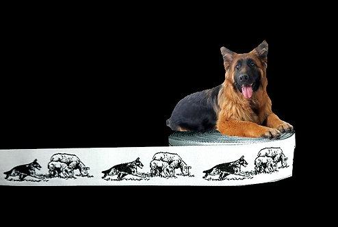 """(3,35€/m) 1m Webband """"Schäferhund & Schafe grau"""", 22mm"""
