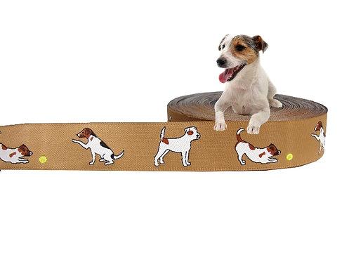 "(3,35€/m) 1m Webband ""Parson Jack Russel Terrier beige"", 23mm"