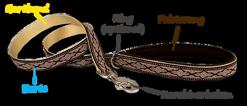 Hundeleine 1,20 Meter, mit Borte und Lederpolsterung
