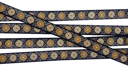 "Webband ""Daisy Dots"" senf, 22mm (3,50€/m)"