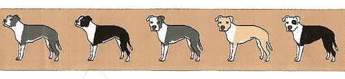 "1m Webband ""American Staffordshire Terrier beige"", 28mm (3,35€/m)"