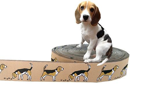 "(3,35€/m) 1m Webband ""Beagle beige"", 20mm"