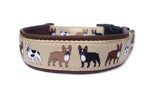 """Halsband """"Französische Bulldogge"""" mit Lederpolsterung"""