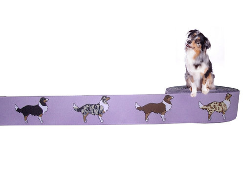"""(3,35€/m) 1m Webband """"Australian Shepherd"""", 2 Farben"""