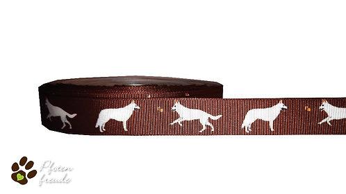 """1m Borte """"Weißer Schweizer Schäferhund"""", 22mm (3,35€/m)"""
