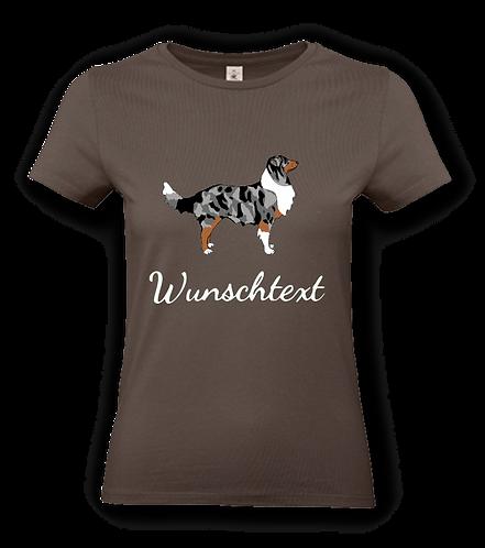"""T-Shirt """"Comic Aussie blue merle"""" mit Hundemotiv und Wunschtext"""