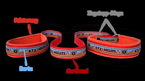 Agility-Leine mit Borte und Neopren, individuell nach Maß