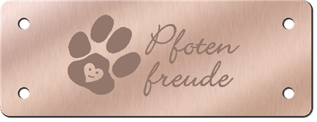 Label aus Bronze, individuell graviert
