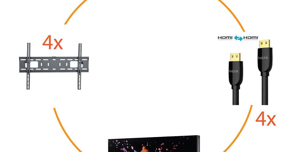 4x Samsung UD46E-B FHD + 4x ekraanikinnitus + 4x Prospeed HDMI + 1x Digibird 45°