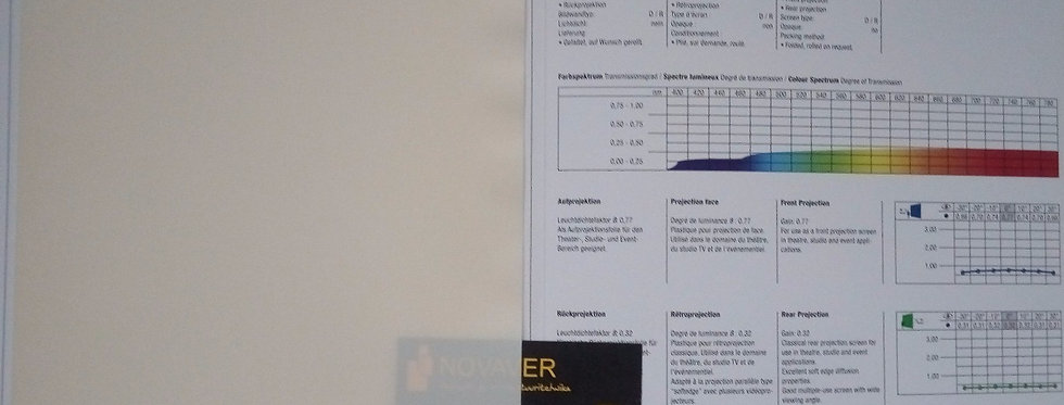 Opera® - Kreemjas valge eest ja tagant projekteeritav PVC ekraanimaterjal