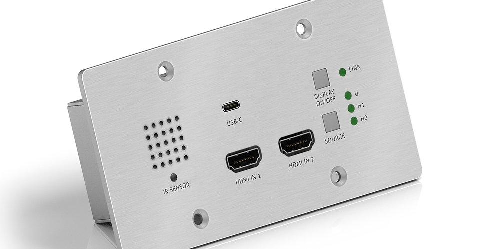 HDBaseT seinaplaadi saatja, 2x HDMI ja USB-C sisendid, 4K, 40m 4K / 70m 1080p