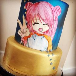 painted , anime cake