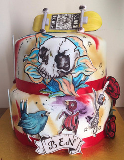 hand painted, tattoo cake