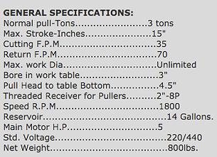 broach machine specs