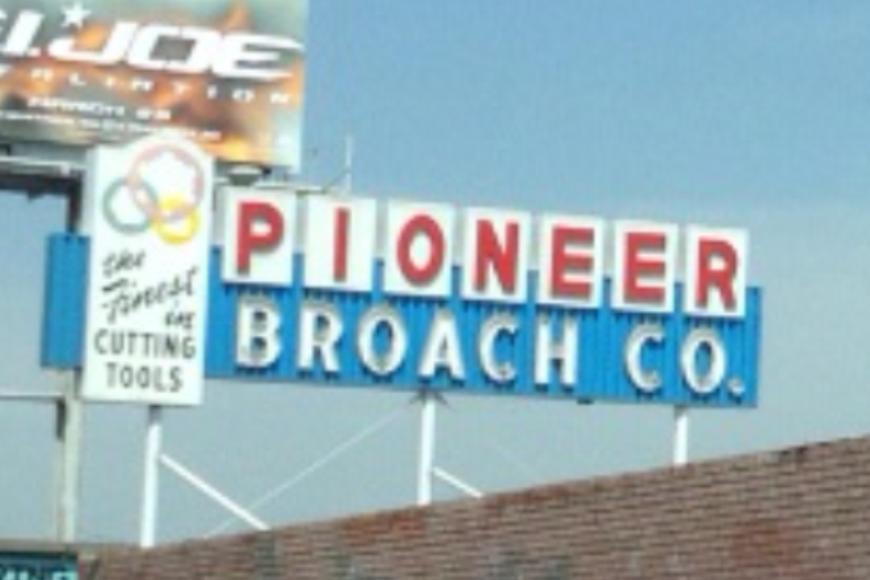 pioneer broach company sign