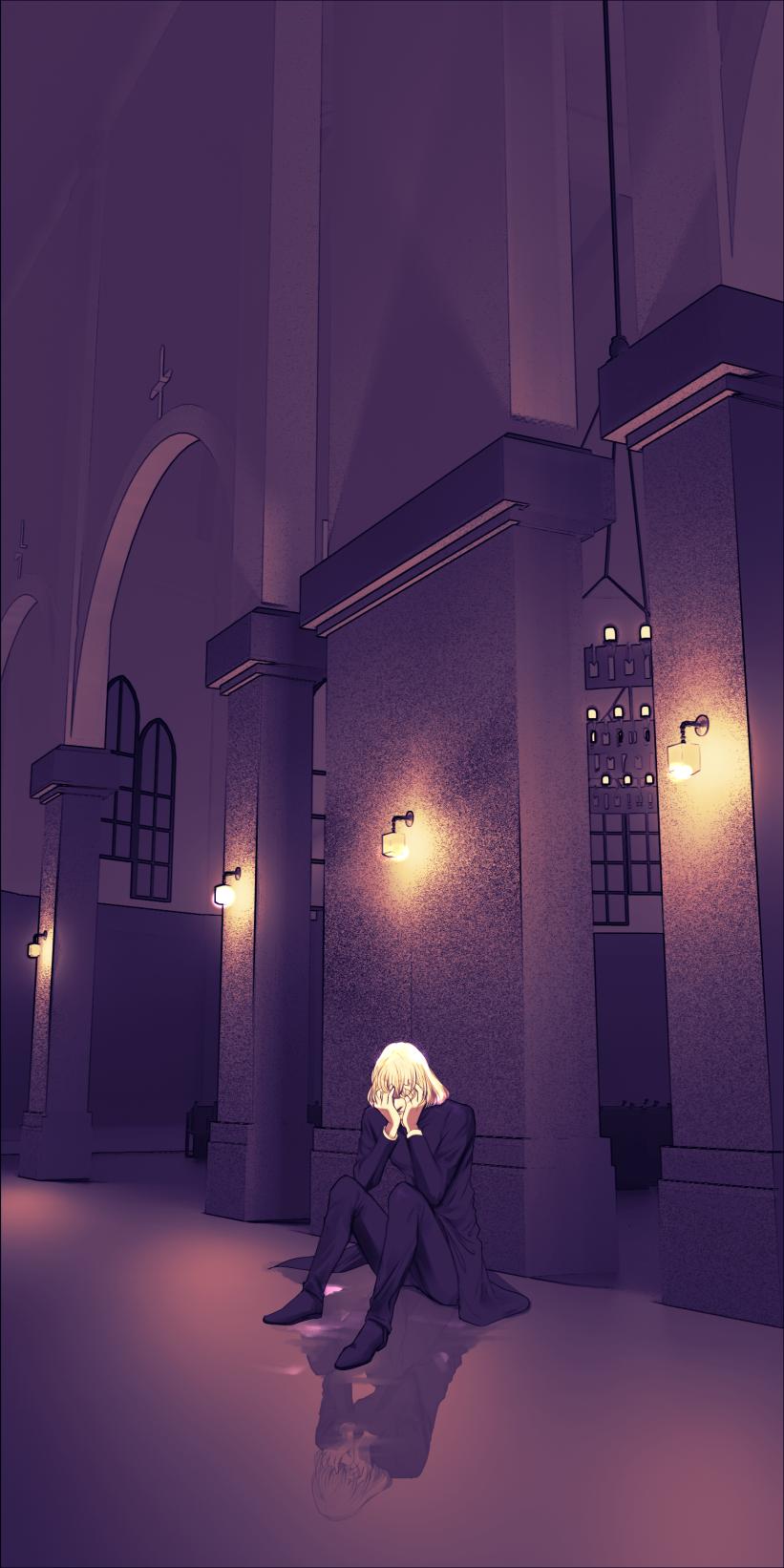 教会と神父加工