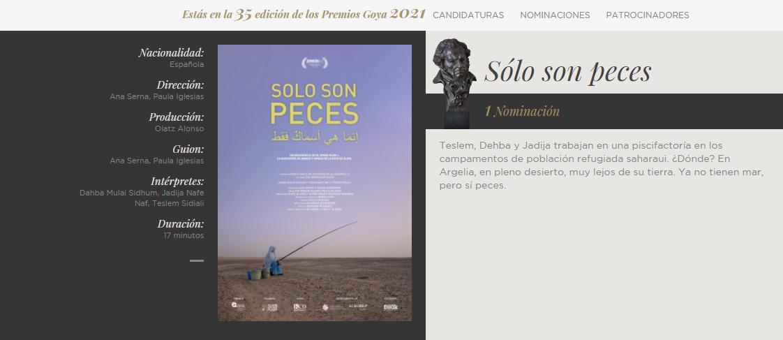 Nominación a mejor cortometraje documental en los premios Goya 2021