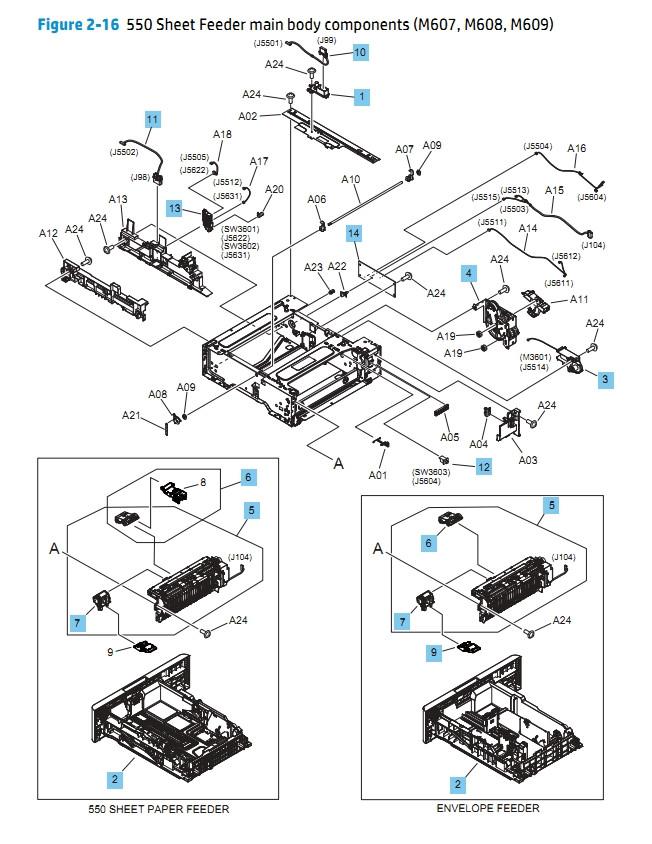 550 Sheet Feeder main body components M607 M608 M609 HP Printer Diagram
