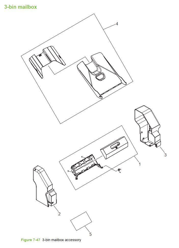 48. HP 4345 Q3942A 4345x Q3943A 4345xs Q3944A 4345xm Q3945A 3 bin mailbox Printer Part Diagrams