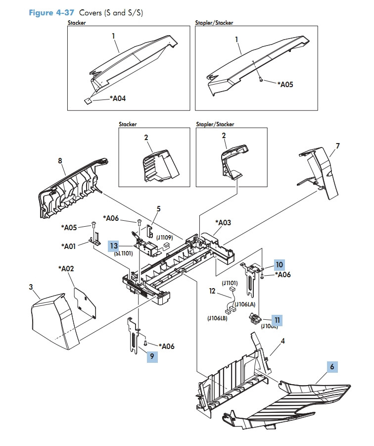 Covers Stapler Stacker M601 M602 M603 HP Laser Printer Diagrams
