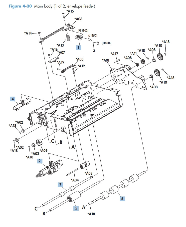 Envelop Feeder Main Body 1 of 2 M601 M602 M603 HP Laser Printer Diagrams