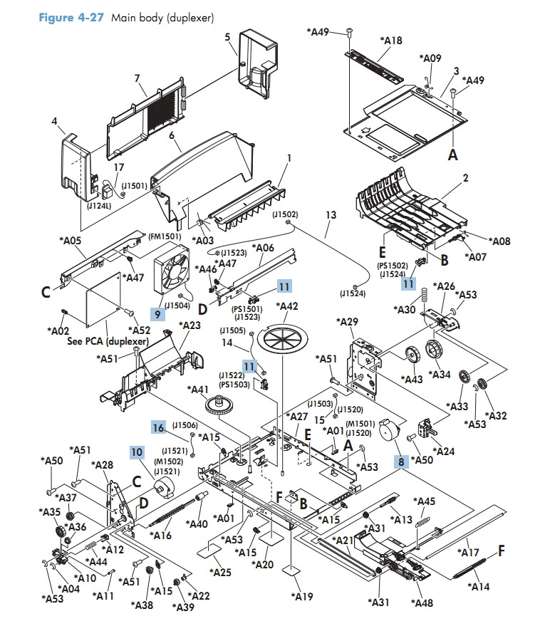 HP Laser Printer Diagrams M601 M602 M603 Main Body Duplexer