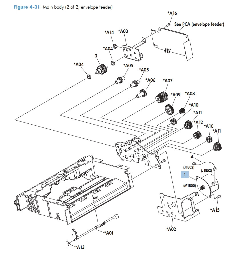 Envelop Feeder Main Body 2 of 2 M601 M602 M603 HP Laser Printer Diagrams