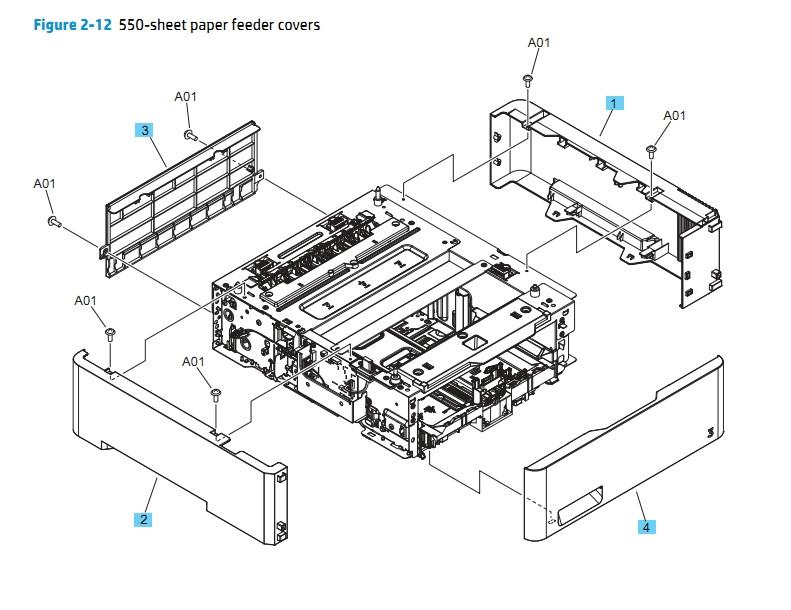 HP M452 M377 M477 500 Sheet Paper Feeder Covers Printer Diagram