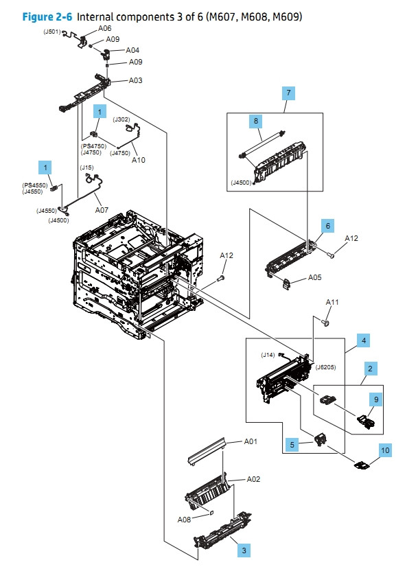 Internal Components 3 of 6 M607 M608 M609 HP Laser Printer Diagrams