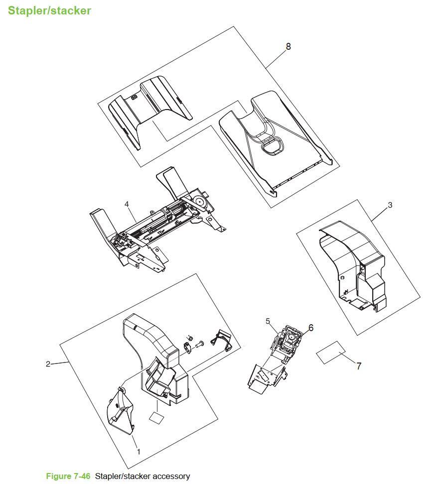 47. HP 4345 Q3942A 4345x Q3943A 4345xs Q3944A 4345xm Q3945A Stapler stacker Printer Part Diagrams