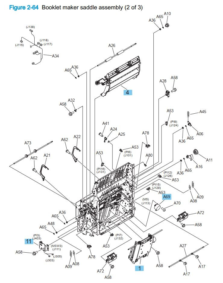 29. HP M855 M880 Booklet maker saddle assembly 2 of 3 printer part diagrams
