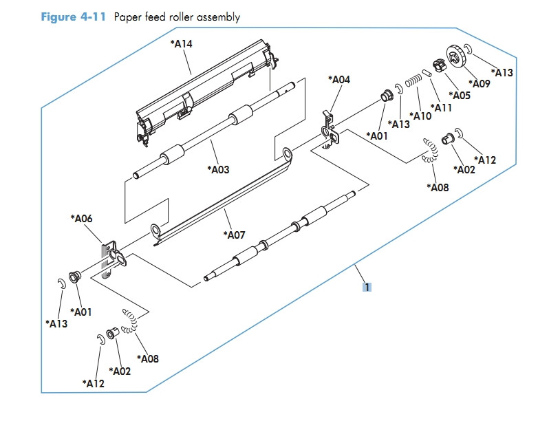 Paper Feed Roller Assembly M601 M602 M603 HP Laser Printer Diagrams