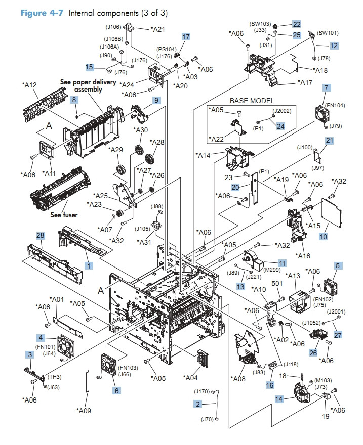 Internal Components 3 of 3 M601 M602 M603 HP Laser Printer Diagrams