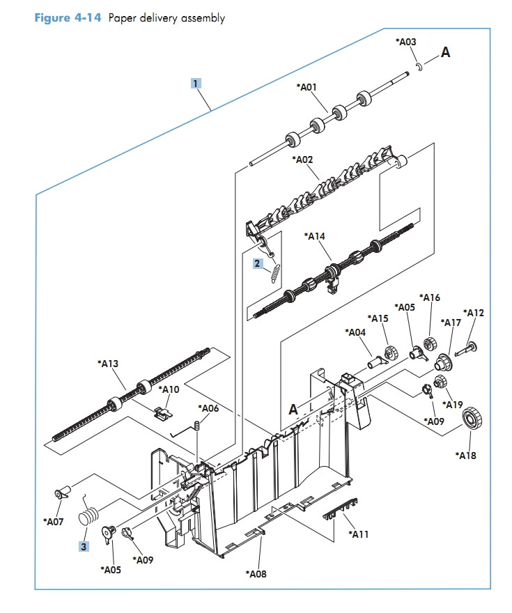Paper delivery assembly M601 M602 M603 HP Laser Printer Diagrams