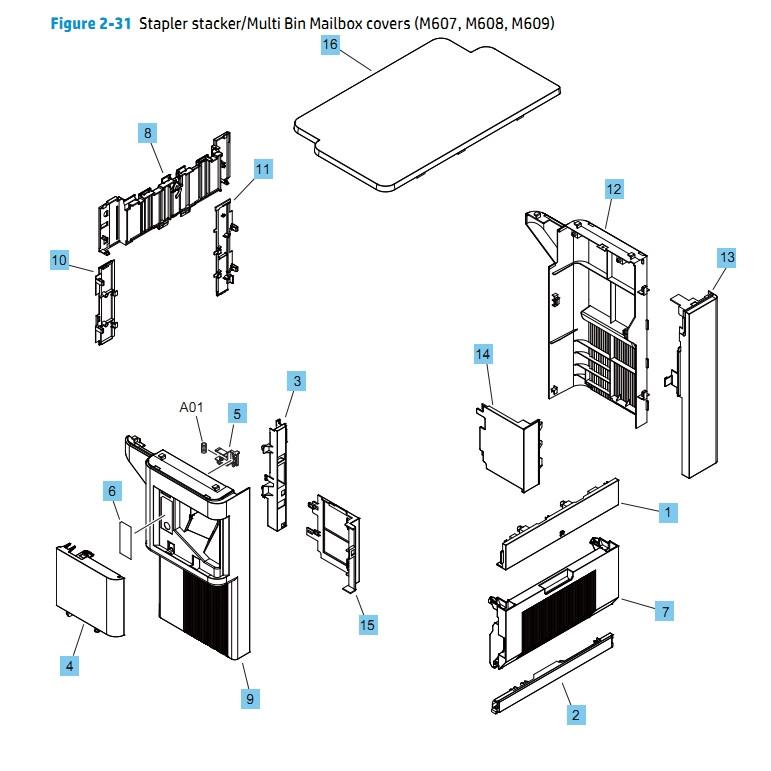 Stapler Stacker Multi Bin Mailbox Covers M607 M608 M609 HP Printer Diagram