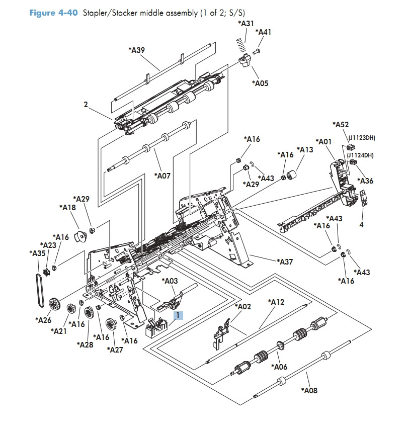 Stapler Stacker middle assembly 1 of 2 M601 M602 M603 HP Laser Printer Diagrams