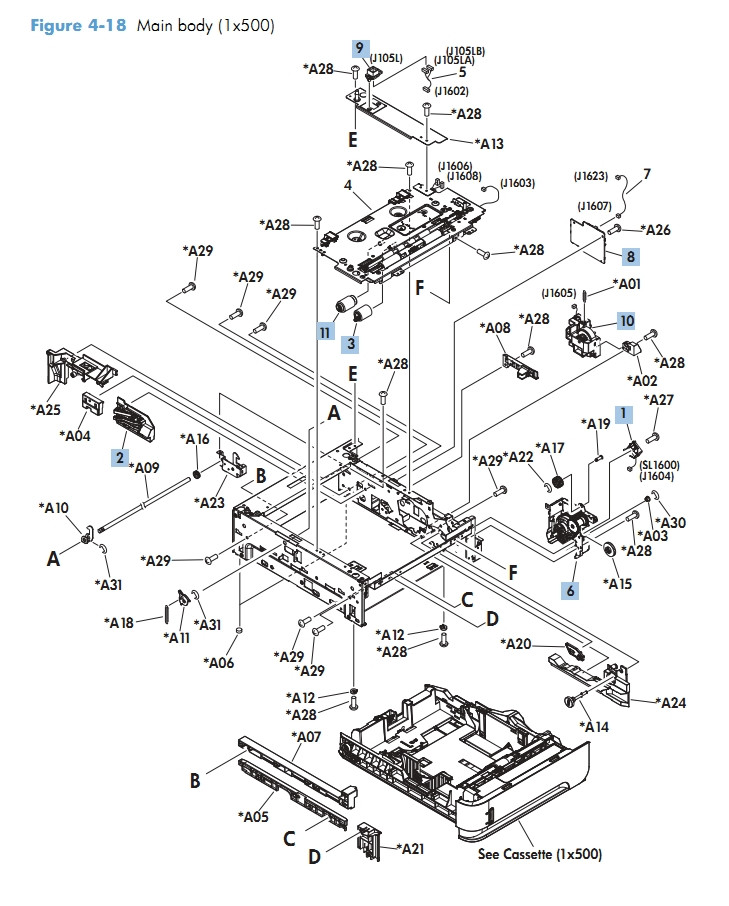 Main Body 1 x 500 M601 M602 M603 HP Laser Printer Diagrams