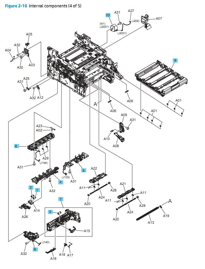 HP M452 M377 M477 Internal Components 4 of 5 Printer Diagram