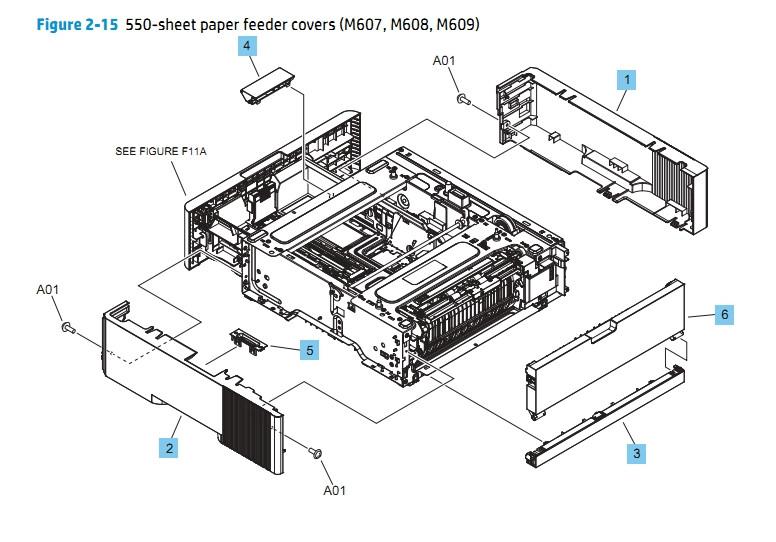 550 Sheet Paper Feeder Covers M607 M608 M609 HP Laser Printer Diagrams