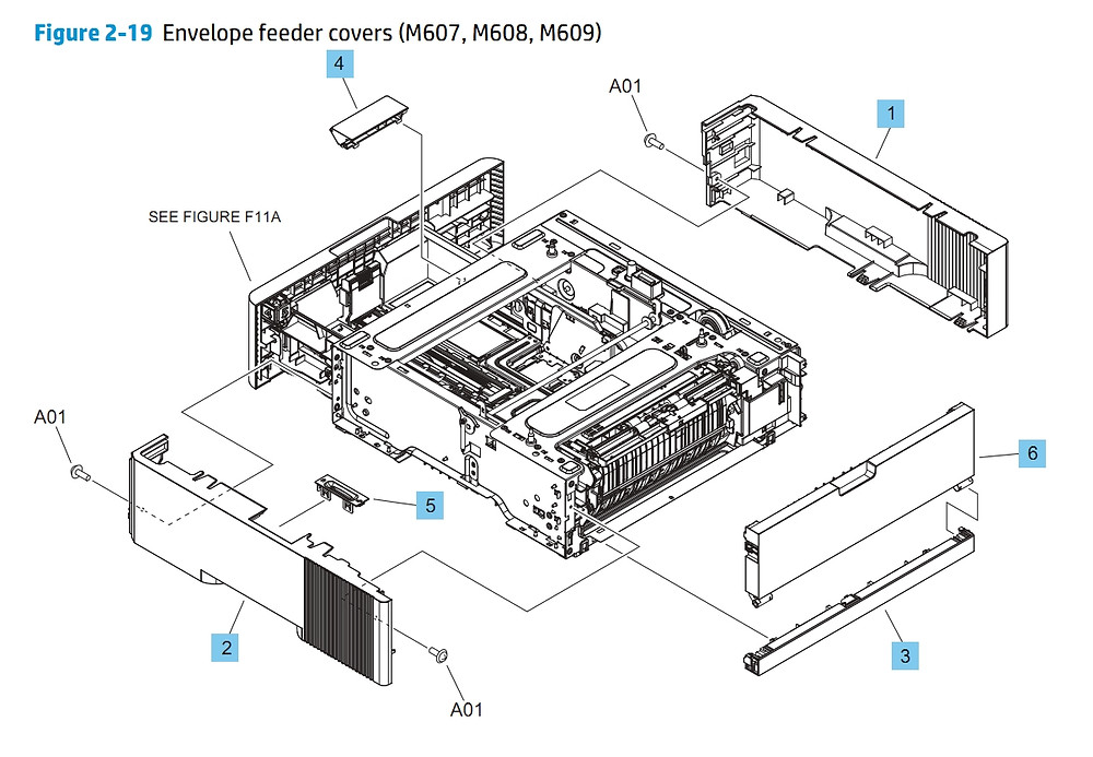 Envelope Feeder Covers M607 M608 M609 HP Printer Diagram