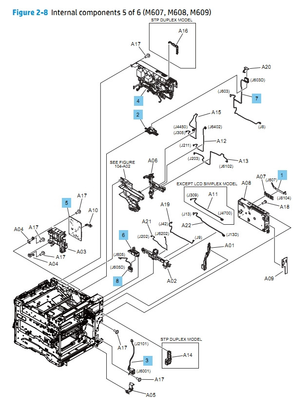 Internal Components 5 of 6 M607 M608 M609 HP Laser Printer Diagrams