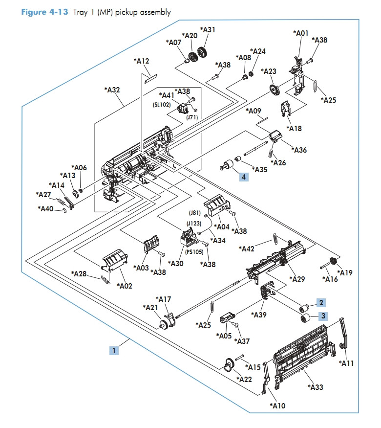 Tray 1 MP pickup assembly M601 M602 M603 HP Laser Printer Diagrams