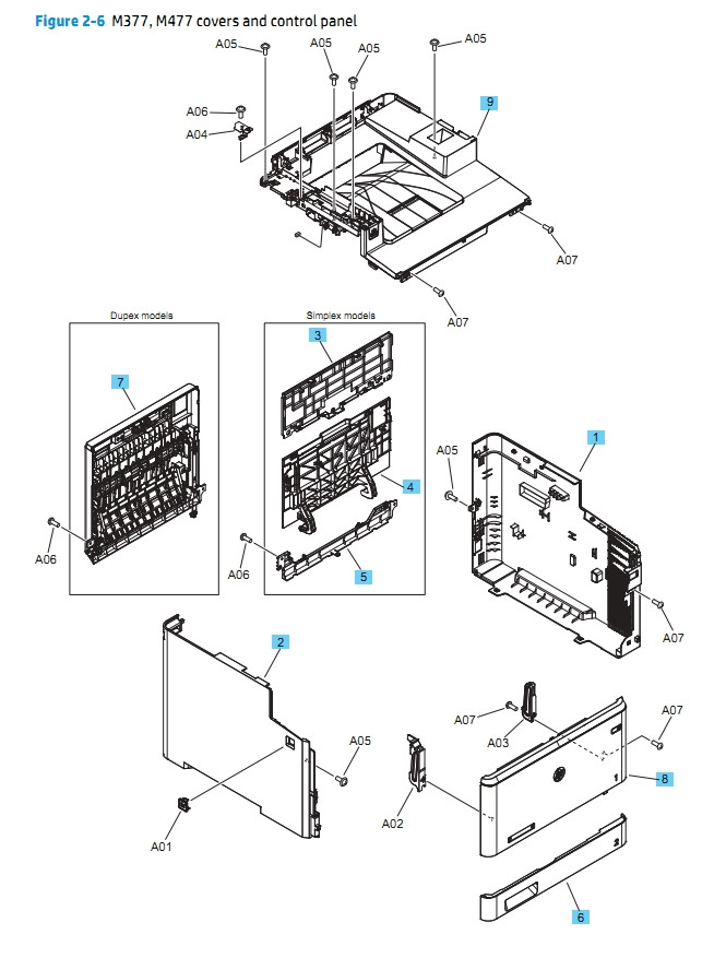 HP M377 M477 Covers and Control 2 of 2  Panel Printer Diagram