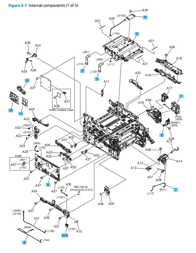 4) HP M452 M377 M477 Internal Components 1 of 5 Printer Diagram