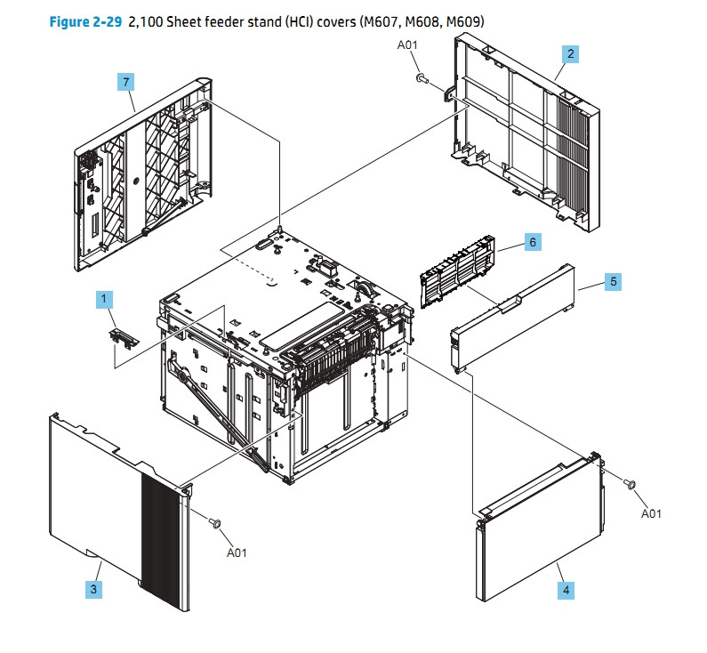 2100 Sheet Feeder Stand HCI Covers M607 M608 M609 HP Printer Diagram