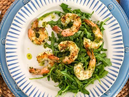 Grilled Shrimp Salad with Arugula Chimichurri