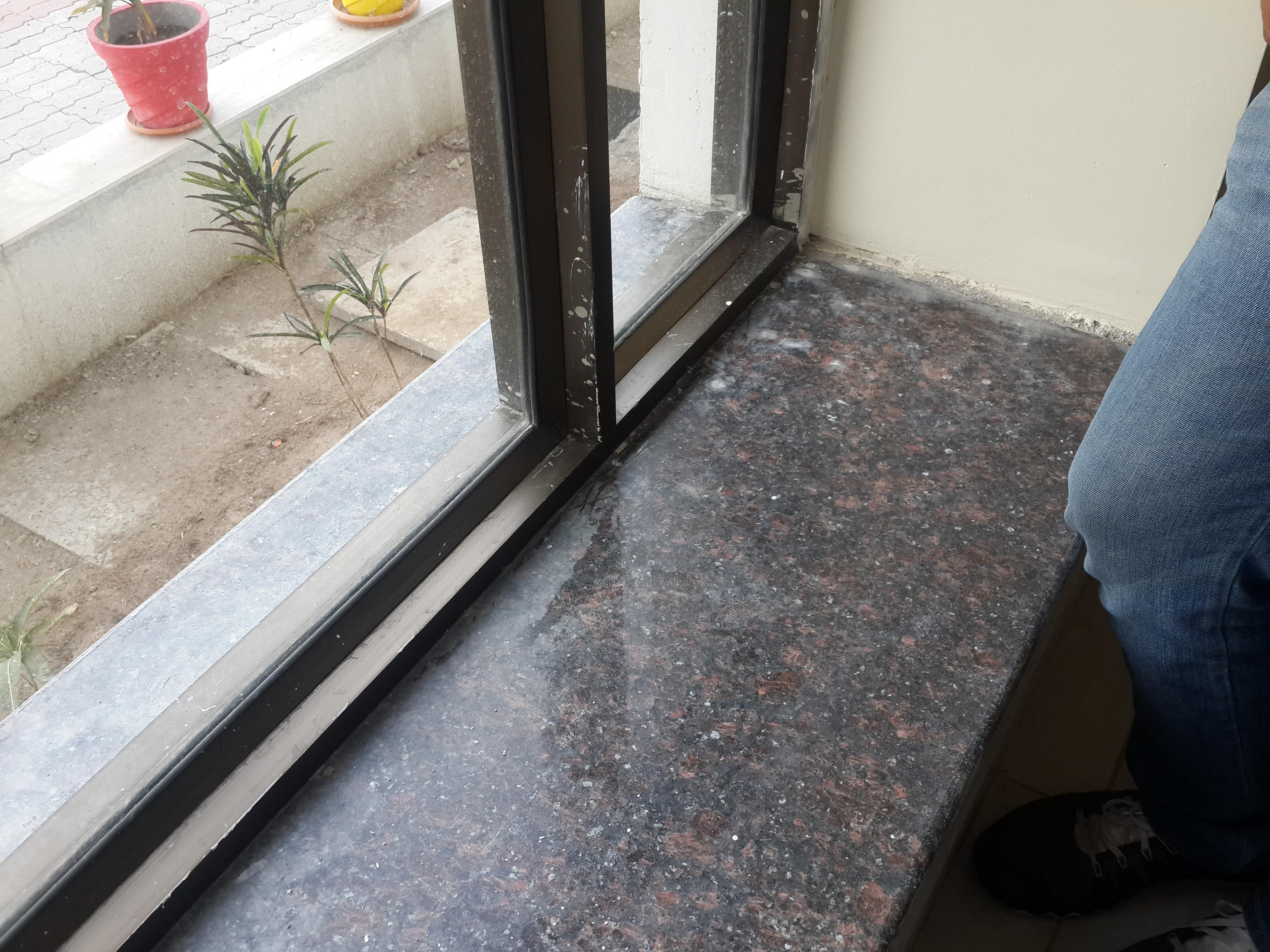 tan brown granite in window sill