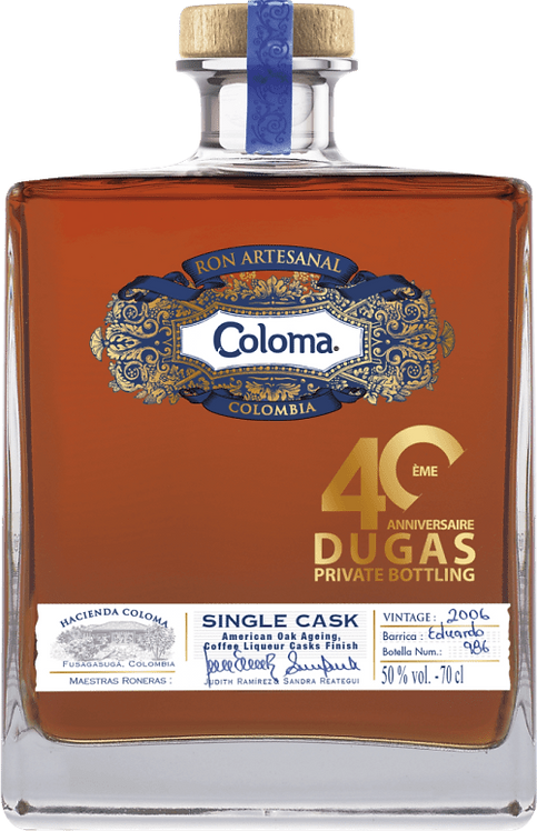 Bouteille de rhum Coloma Single Cask 2007 40 Ans Dugas Private Bottling