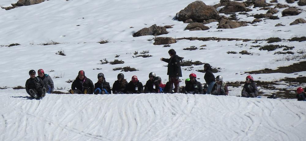 Treinamento para descida de esquibunda - Farellones - Chile