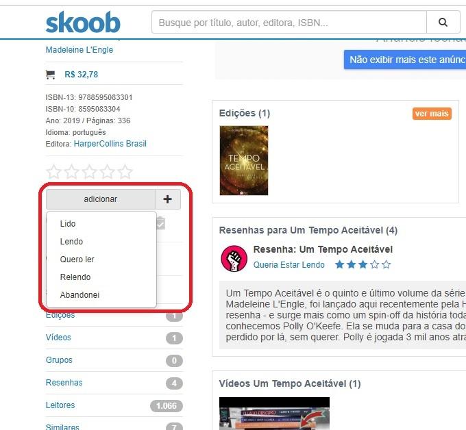 Opções livro do skoob
